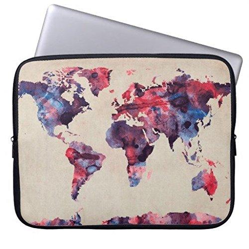 Eratio World Map Watercolor Neoprene Laptop Sleeve 13 Inch MacBook Air Case MacBook Pro Sleeve and 13 Inch Laptop Bag