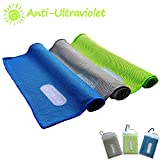 Microfiber Snap Cooling Towel by alamoha-Magic Ice Cold Sports Towel-Use as Cooling Neck Headband Bandana Scarf-Compact Lightweight Sweat- Ideal for Hiking Running Bowling Fitness Golf Gym Yoga