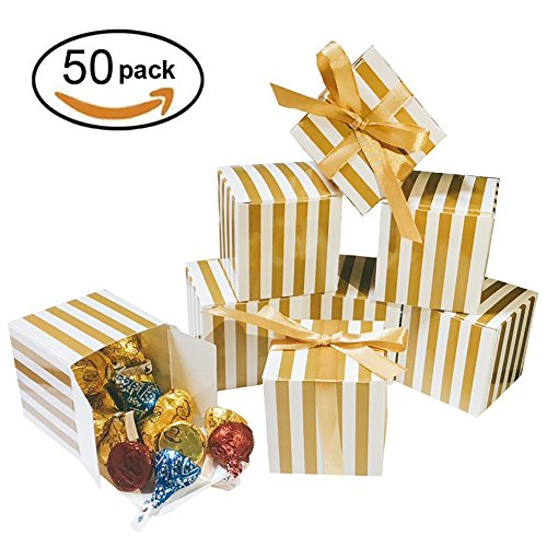 Golden Celebration Favor Cake - Small Shiny Gold Cube Candy Treat Boxes Set with Ribbon Gold White Strips Gift Boxes Bulk Wedding Party Favors Baby Shower Birthday Party Supplies 2x2x2 inch, 50pc