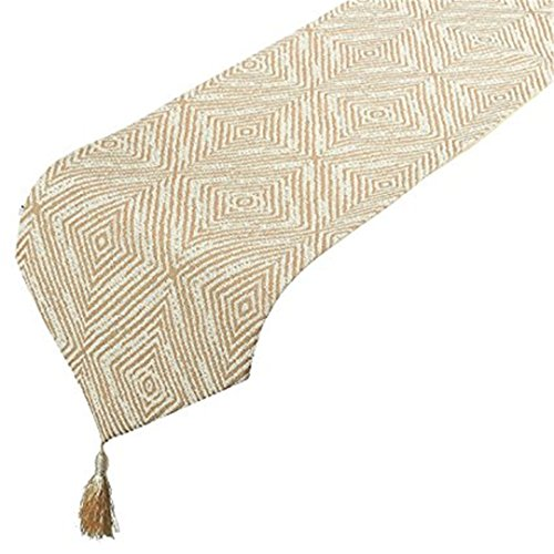 NikiCains Table Runner – Polyester Cotton Dresser Runner with Tassels and Diamond Embroidery, Ideal for Coffee Table Dining Table Kitchen Table Runner, Beige, 13 x 96 Inches …