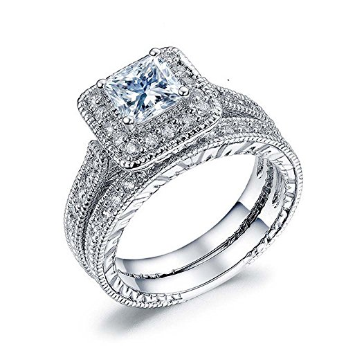 Romantic Fate White Sqaure Deluxe Crystal Wedding Lover 18K Silver Zirconia Studded Women Ring - Crown Sunglasses Deluxe