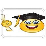 VROSELV Custom Door MatGraduation Smiley Emoji Character with a Diploma Student Education School Design Yellow Dark Grey