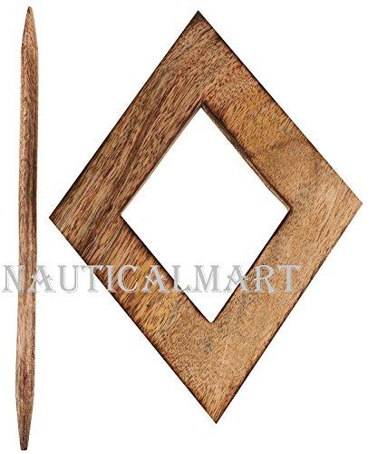 NAUTICALMART Decorative Wooden Curtain Tiebacks Set of 2 Window Treatment Holdbacks Drape Binds Hand Carved with Rustic Finish Home Decor by NAUTICALMART (Image #1)