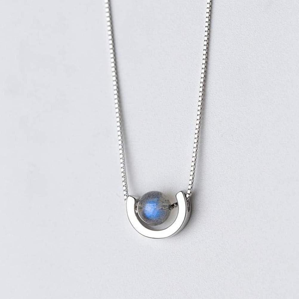 WOZUIMEI Collar Colgante de Plata S925 Personalidad de Moda de Estilo Japonés Y Coreano de Las Mujeres Estilo Collar de Piedra Colgante de Piedra Lunar en Forma de UCollar de plata 925