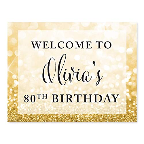Andaz Press Personalized Glitzy Faux Gold Glitter 8.5-inch Party Sign, Welcome to Olivia's 80th Birthday, 1-Pack, Custom Name