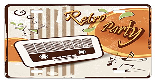 Ambesonne 70s Party License Plate, Retro Party Themed Artwork Old Radio Cocktails Floral Details Print, High Gloss Aluminum Novelty Plate, 5.88 L X 11.88 W Inches, Orange Dark Brown Beige -