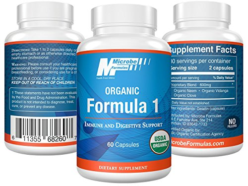 Intestinal Support- Microbe Formulas Organic Formula 1 - 60 Capsules - Organic Supplement - Dietary Supplement - Ayurvedic Medicine - Intestinal Detoxification - Healthy Intestinal Tract by Microbe Formulas