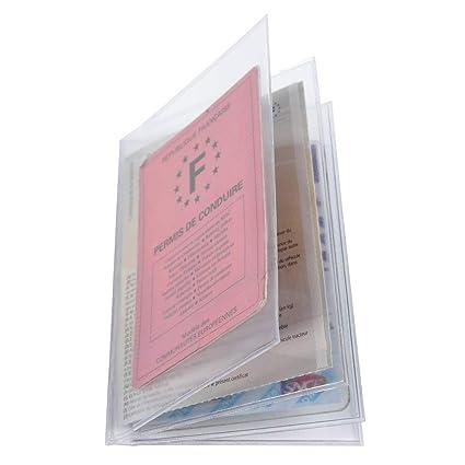 2a63b3f8c8a34 Exacompta 5396E Sachet de 10 etuis de protection multi-cartes 4 volets pvc  lisse 15x100e - 88x138mm