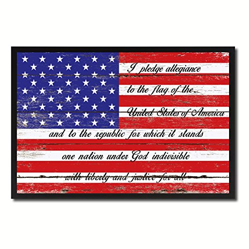 The Pledge of Allegiance American USA Flag Vintage Canvas Print Picture Frame Home Decor Man Cave Wall Art Collection Gift Ideas