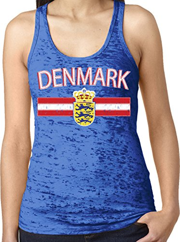 - Amdesco Ladies Denmark Coat of Arms Danish National Emblem Burnout Racerback Tank Top, Royal Blue XS