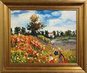 Amazon De Claude Monet Mohnfeld Bei Argenteuil Gerahmt Mit Original Olgemalde Kunst