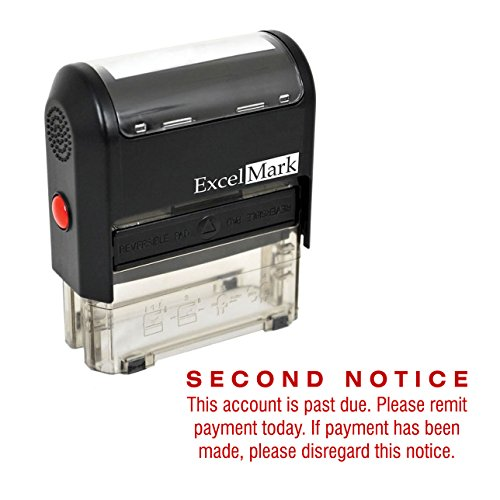SECOND NOTICE PAST DUE - Self Inking Bill Collection Stamp in Red Ink