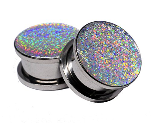 Screw on Plugs - Silver Holographic Glitter Plugs - Sold As a Pair (2g (6mm))
