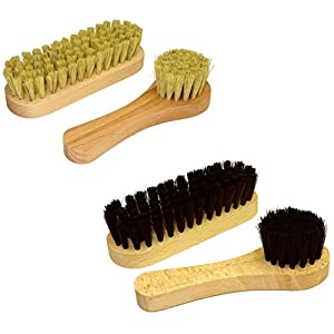DELARA Wooden Handled Shoe Brush Set, Four Brushes Made from Natural bristles – Made in Germany
