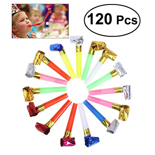 NUOLUX Party Blowouts Bulk Paper Blowouts Party Favors Toy About 120Pcs Random Color