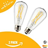 Leadleds LED Dimmable Edison Bulb of Antique Vintage Style Long LED Filament E26 Medium Screw Base 6Watt to Replace 60W Incandescent Bulb 2700K, Warm White (2-Pack)