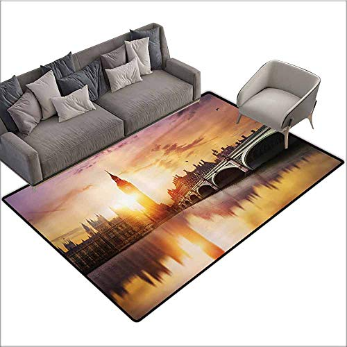 (Anti-Slip Cooking Kitchen Carpets London Decor Collection,Big Ben and Westminster Bridge at Dusk with Blurry River Reflection Photography,Sandy Orange Lavender 48