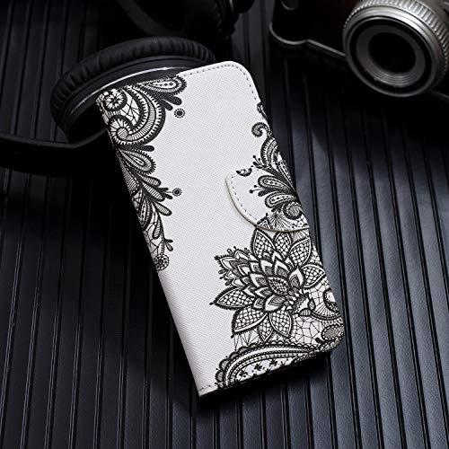 De Pu Compatible Stand Huawei Folio Honor Housse dentelle Portefeuille Motif Herbests Case Protection Fleur Cover Cuir Etui Téléphone 8c En Fonction Dentelle Avec Couverture q8x45f