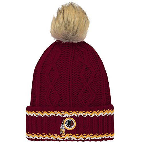 official photos 3bc5e 3018e Outerstuff NFL Girls Fan-core Furry Pom Cable Knit Hat