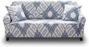HOTNIU Stretch Printed Sofa Cover for 2 Cushion Couch Covers Loveseat Slipcovers for Sofas Couches Furniture Protector for Living Room with One Free Pillow Case (2 Seater Sofa, White Blue)