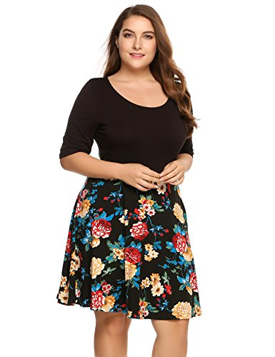 Zeagoo Women's Summer Half Sleeve Vintage Floral Swing Cocktail Party Tank Dress