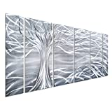 """Willow Tree of Life Metal Wall Art Decor - Contemporary Large 65"""" x 24"""" Set of 6 Panels - 100% Handmade Original Aluminum Design - Abstract Silver Sculpture Artwork for Bedroom or Living Room"""
