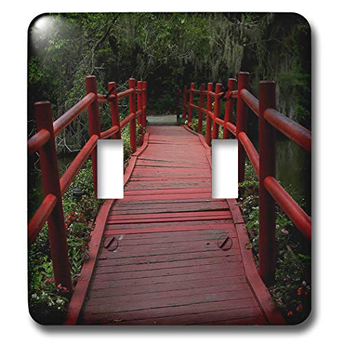 3dRose Stamp City - architecture - Photograph of red path bridge at Magnolia Plantation and Gardens. - Light Switch Covers - double toggle switch (lsp_290774_2)