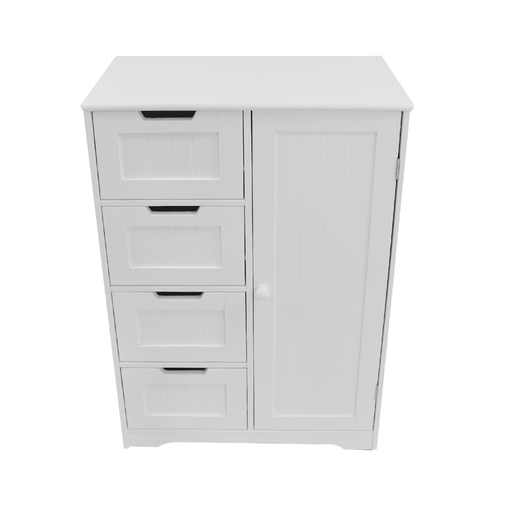 Panana White Wooden Bathroom Cabinet with Four Drawers /& Cupboard Floor Standing Storage Unit for Bedroom Hallway Living Room