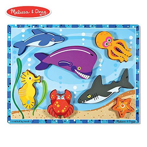 (Melissa & Doug Sea Life Wooden Chunky Puzzle (7 pcs))