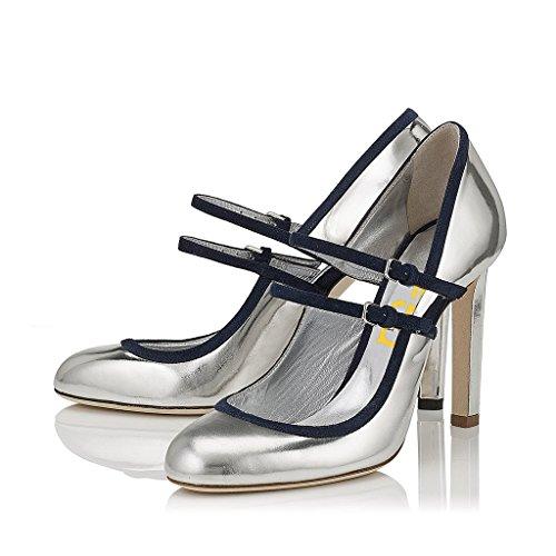 84975a48f0b FSJ Women Vintage Retro Mary Jane Pumps Round Toe Chunky Heels Dancing  Dress Shoes Size 4