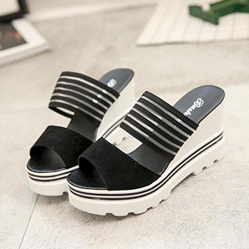 Toe Peep Womens Sandals Shoes Platform Heels Wedge Sandals High Slippers Black Thong Inkach ftEWIqZ