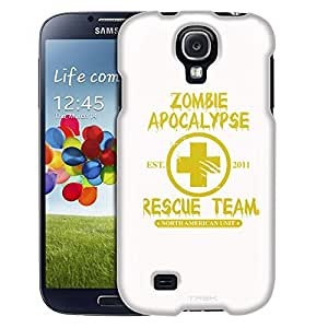 Samsung Galaxy S4 Case, Slim Fit Snap On Cover by Trek Zombie Apocalypse 2012 Rescue Team Yellow on White Case