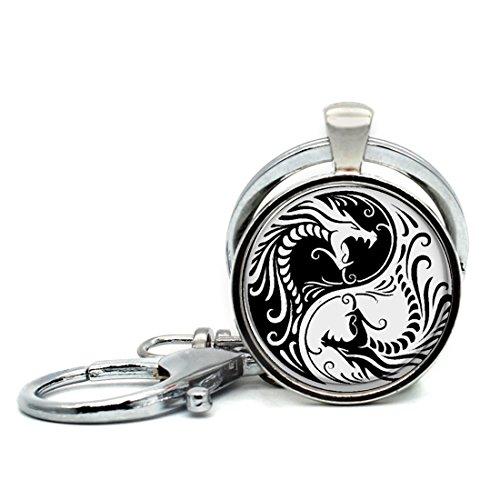 Handmade Keychain Ying And Yang Dragon Charm Pendant Car Circle Key Rings Gift Bag Hanging Buckle
