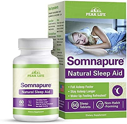Somnapure natural Sleep Aid With melatonin, valerian, & chamomile, non-habit-forming Sleeping pill, fall asleep & Stay asleep, Force Factor, 60Count (Packaging May Vary)