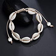 Pearl Shell Choker Necklace Set,Cowry Beach Anklet Bracelet for Women
