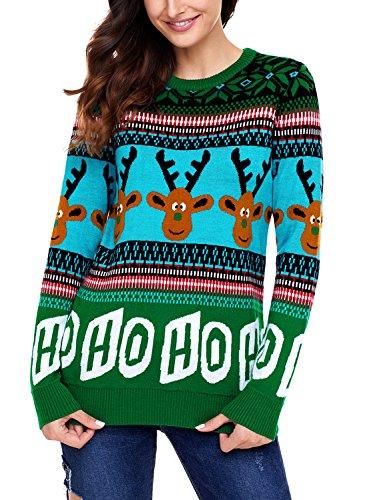 Sidefeel Women Reindeer HO HO HO Ugly Christmas Sweater X-Large Green -