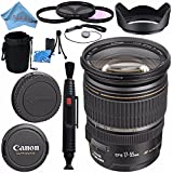 Canon EF-S 17-55mm f/2.8 IS USM Lens 1242B002 + 77mm 3 Piece Filter Kit + Lens Cleaning Kit + Lens Pouch + 77mm Tulip Lens Hood + Fibercloth Bundle