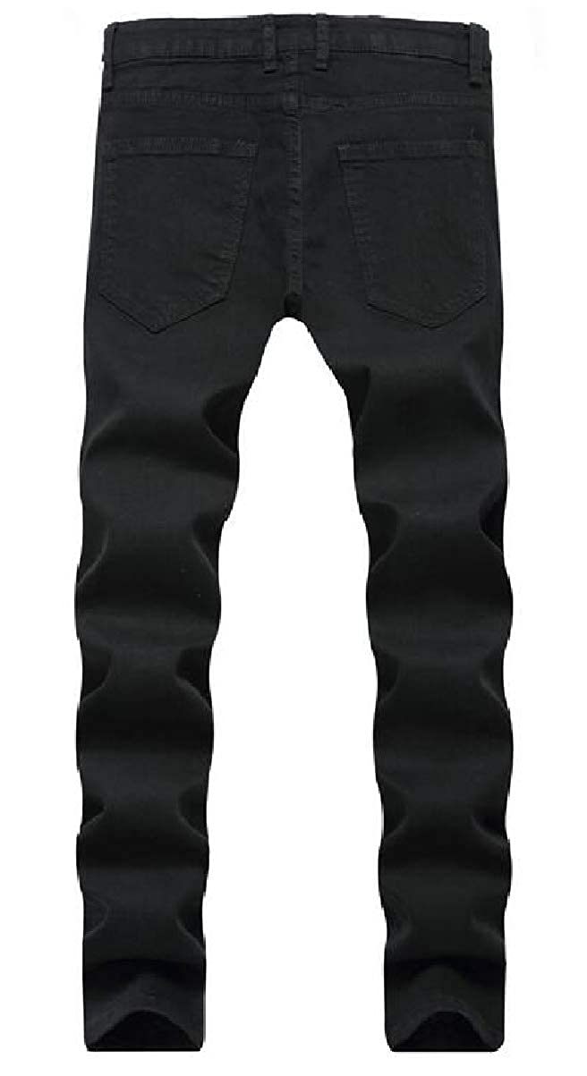 YIhujiuben Men Holes Elastic Denim Rose Slim Pants Trousers