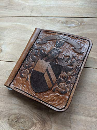 Men's 3D Genuine Leather Wallet, Money clip, Hand-Carved, Hand-Painted, Leather Carving, Custom wallet, Personalized wallet, Crest, Emblem, Coat of - Clip Money Crest