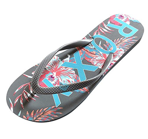 Roxy Womens Simba Love V (7, Grey/Blue Hibiscus (Roxy Print Sandals)
