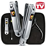 Nail Clippers 4pcs Set by Ennbell - Fingernail and Toenail 2 Stainless Steel - Sharpest Cuticle Nippers and Tweezers Professional Manicure Men and Women Care Kit in Black Quality Leather Travel Case
