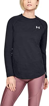 Under Armour Women's Charged Cotton Adjustable Long Sleeve T-Shirt, Black/White