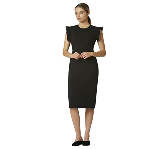 Avec Les Filles Joyce Azria Work Dress with Ruffle Sleeve Detail (Black) at Amazon Womens Clothing store: