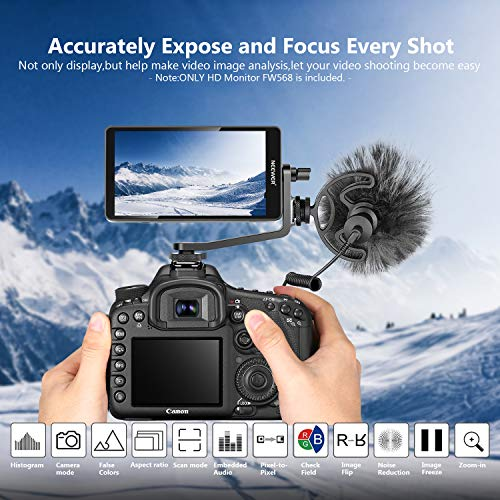 Neewer FW568 5.5-Inch Camera Field Monitor Full HD 1920x1080 IPS with 4K HDMI DC Input Output Video Peaking Focus Assist with Swivel Arm for DSLR Cameras and Gimbal(Battery/Charger Not Included)