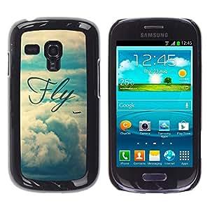 FlareStar Colour Printing Fly Motivational Vignette Text Sky cáscara Funda Case Caso de plástico para Samsung Galaxy S3 III MINI (NOT FOR S3!!!) / i8190 / i8190N