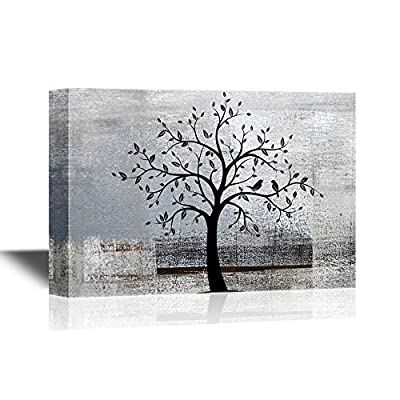 Abstract Tree Canvas Wall Art - Black Tree Branch with Leaves and Birds on Grey Background - Gallery Wrap Modern Home Art | Ready to Hang - 12x18 inches