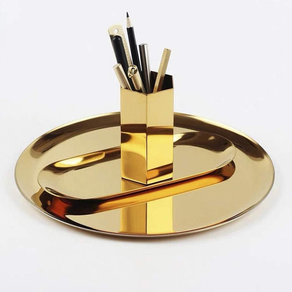 lemonadeus Oval Tray Jewelry Tray Towel Dish Food Fruit Tray Cosmetics Accessory Earrings Storage Multi-uses Decor Tray (Round Gold Tray 11