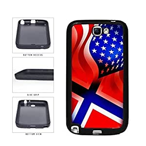 Norway and USA Mixed Flag TPU RUBBER SILICONE Phone Case Back Cover Samsung Galaxy Note II 2 N7100