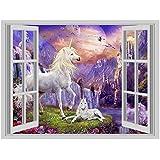 Fantasy Unicorn Island #1 3D Window Art Wall Sticker Vinyl Decal Decor Mural by Inspired Walls®