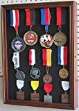 Walnut Wall Shadow Box Cabinet For Lapel Pin Patches Medal Display Glass Door